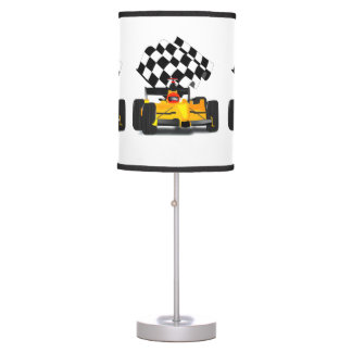 Yellow  Race Car with Checkered Flag Table Lamp