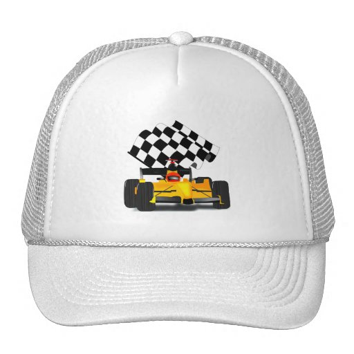 Yellow Race Car with Checkered Flag Trucker Hat