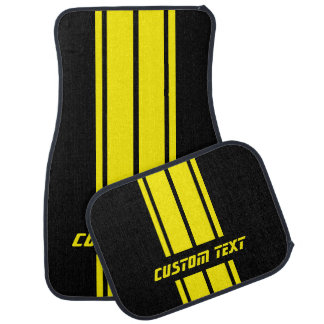 Yellow Race Double Stripes | Personalize Car Floor Mat