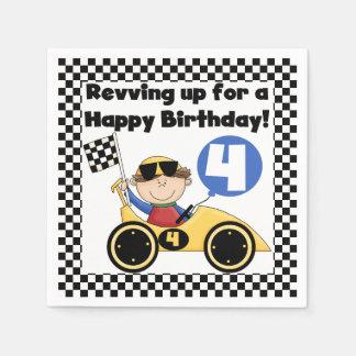 Yellow Racing Car 4th Birthday Paper Napkins