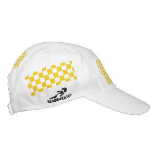 Yellow Racing Checkered Flag Display Customizable Headsweats Hat