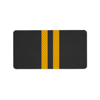 Yellow Racing Stripes Carbon Fiber Style Label