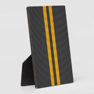 Yellow Racing Stripes Carbon Fiber Style Plaque