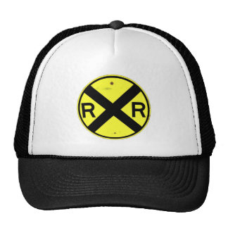 Yellow Railroad Crossing Sign Mesh Hats