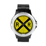 Yellow Railroad Crossing Sign Wrist Watch