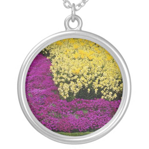 yellow Rainbow flowerbeds flowers Round Pendant Necklace