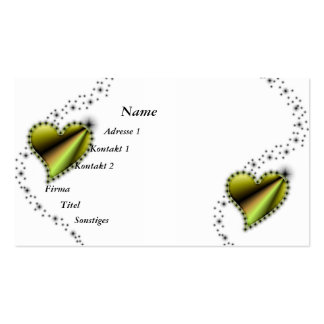 yellow Rainbow Heart with Stars Double-Sided Standard Business Cards (Pack Of 100)