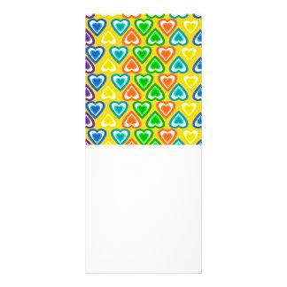 yellow rainbow hearts pattern custom rack card