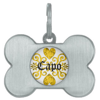 yellow Rainbow Ornaments, heart and lily Pet ID Tag