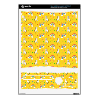 Yellow rainbow unicorn hearts stars pattern decal for the xbox 360 s