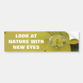 Yellow Raindrop Lily Car Bumper Sticker