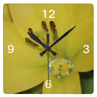 Yellow Raindrop Lily Square Wall Clock