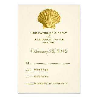 Yellow Rattan Seashell Wedding Reply RSVP Cards