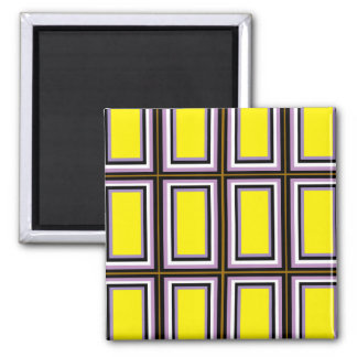 Yellow Rectangles 2 Inch Square Magnet