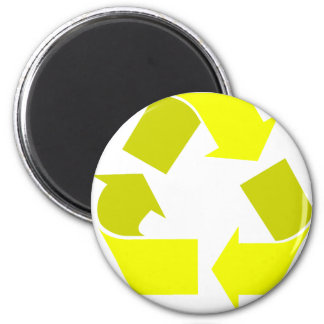 yellow recycle 2 inch round magnet
