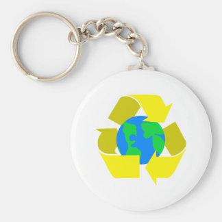 yellow recycle keychain