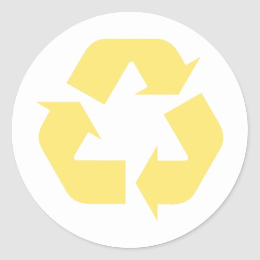 Yellow Recycle Products & Designs! Classic Round Sticker