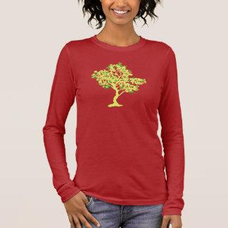 Yellow Recycle Tree Long Sleeve Womens Shirt