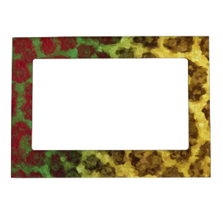 Yellow Red Abstract Cheetah Magnetic Photo Frame