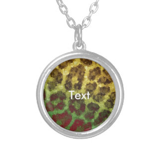 Yellow Red Abstract Cheetah Round Pendant Necklace