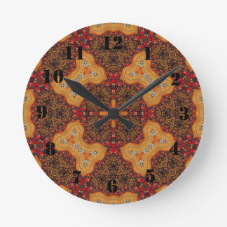 Yellow & Red Abstract Patter Round Wallclock
