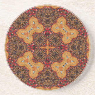 Yellow & Red Abstract Patter Drink Coaster