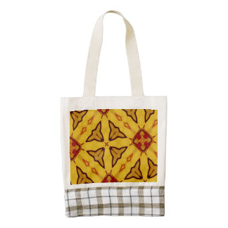 Yellow red abstract pattern zazzle HEART tote bag