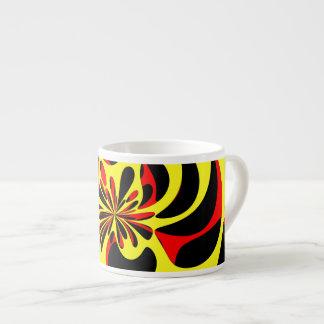 Yellow red and black 6 oz ceramic espresso cup