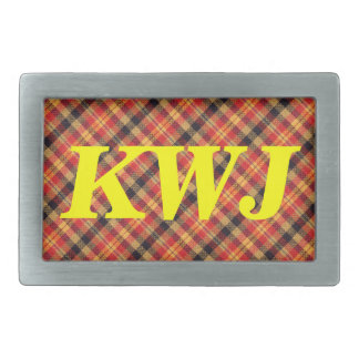 Yellow Red and Black Diagonal Plaid Design Rectangular Belt Buckle