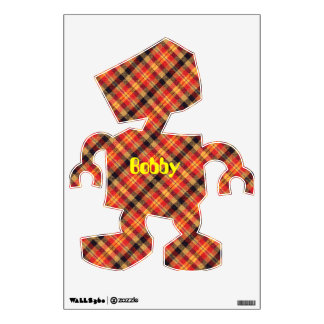 Yellow Red and Black Diagonal Plaid Design Wall Sticker