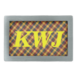 Yellow Red and Blue Diagonal Plaid fabric Design Rectangular Belt Buckles
