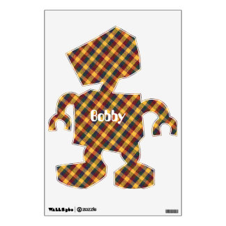 Yellow Red and Blue Diagonal Plaid fabric Design Wall Sticker