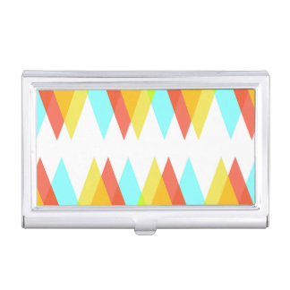 Yellow, red and cadet blue triangles business card case