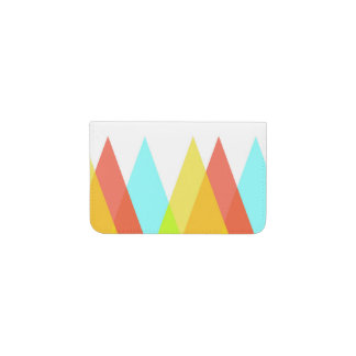 Yellow, red and cadet blue triangles business card holder