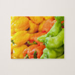 Yellow, red and green pepper on sale at farmer's jigsaw puzzle