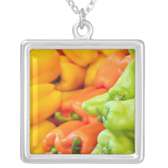 Yellow, red and green pepper on sale at farmer's silver plated necklace
