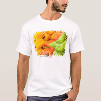 Yellow, red and green pepper on sale at farmer's T-Shirt