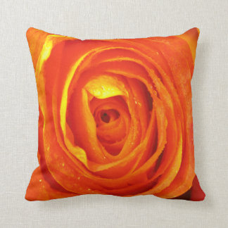 Yellow red and orange rose pillow