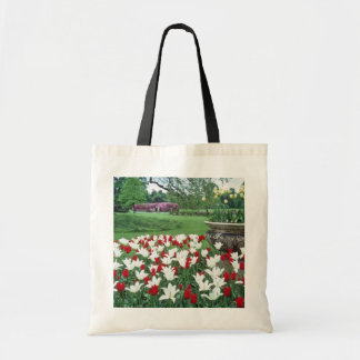 Yellow Red and white tulips, Kew Gardens flowers Budget Tote Bag