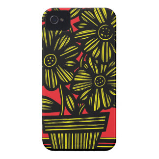 Yellow Red Black Flowers Floral iPhone 4 Case