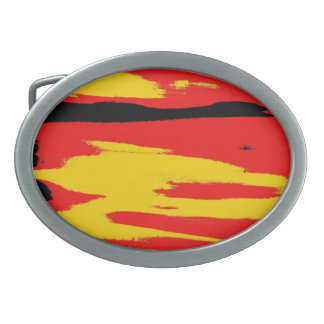 Yellow Red Black Retro Painting Abstract Art Belt Buckle