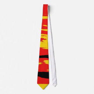 Yellow Red Black Retro Painting Abstract Art Tie