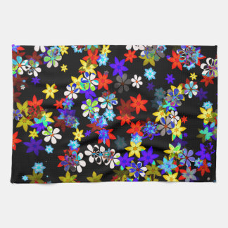 Yellow, Red, Blue, Cream, Violet Flowers On Black Hand Towel