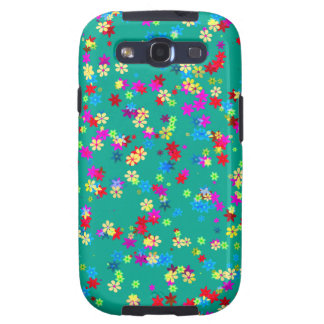 Yellow Red Blue Purple Flowers On Emerald Green Galaxy S3 Cases