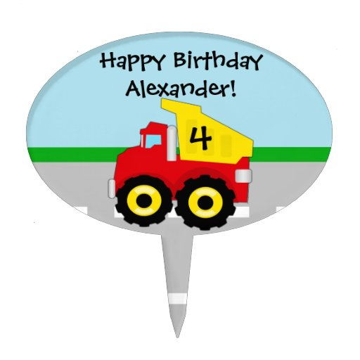 Yellow/Red Boys Dumptruck Construction Cake Topper