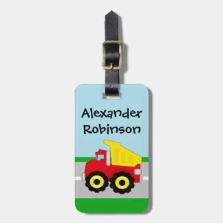 Yellow Red Boys Dumptruck Construction Luggage Tags