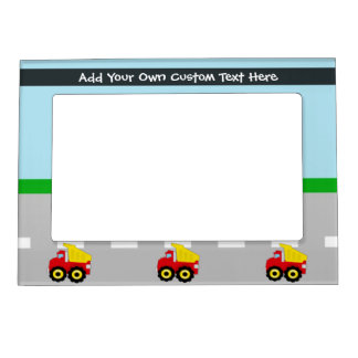 Yellow/Red Boys Dumptruck Construction Magnetic Photo Frames