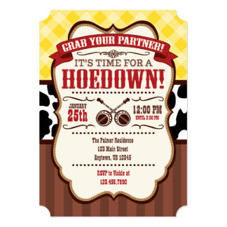 Yellow Red Brown Hoedown Party Invitation