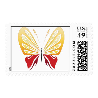 yellow red butterfly Postage