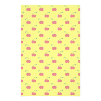 Yellow red cherry pattern customized stationery